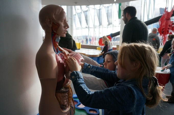 Learning about the human body at Techniquest, Cardiff Bay, Wales