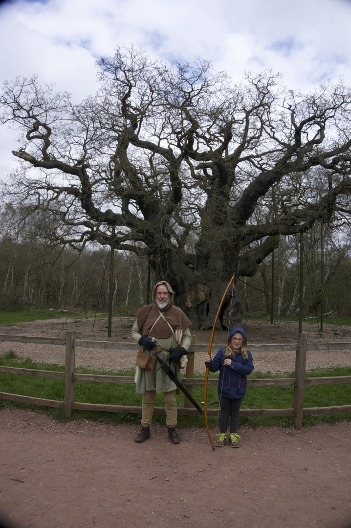 Meet Robin hood at the 800 year old Major Oak, Sherwood Forest, Nottinghamshire