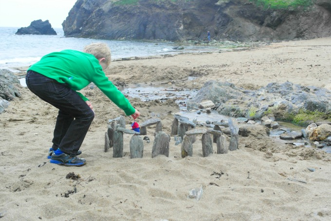 The beach at Soar Mill Cove is perfect for rockpooling, playing in the sand, or building Stonehenge!