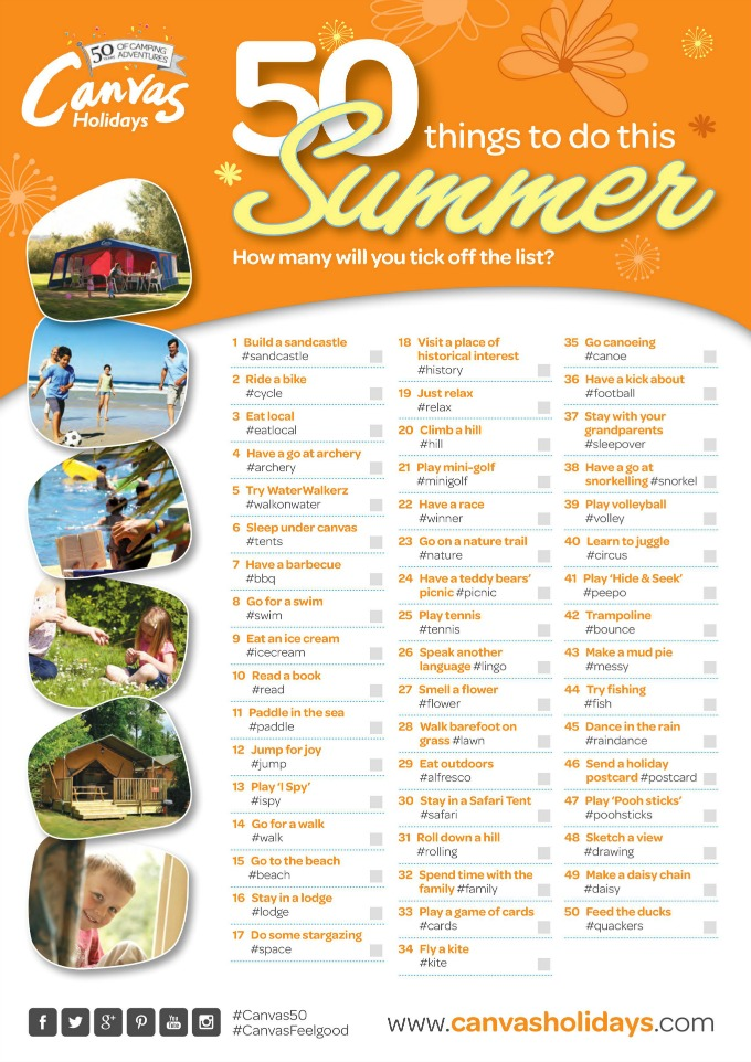 50 things to do on canvas holidays campsites space in for What to do with a canvas